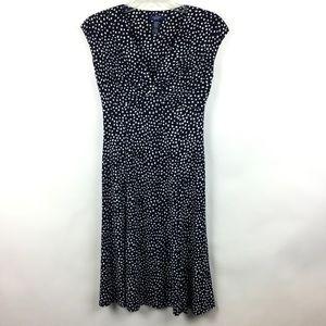Chaps XS Dress Navy Blue White Polka Dot Stretch